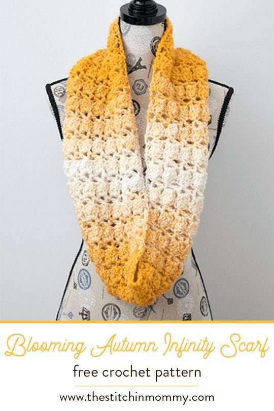 Blooming Autumn Crochet Infinity Scarf