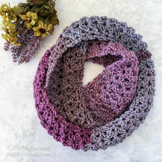 Frosted Berry Crochet Infinity Scarf