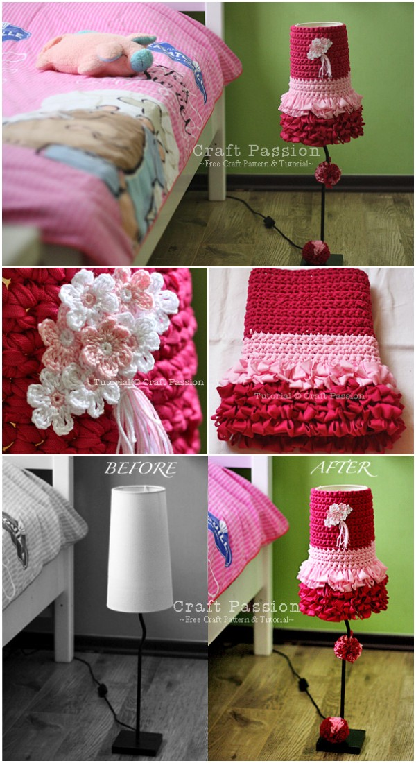 Crochet Dolly Lampshade Cover