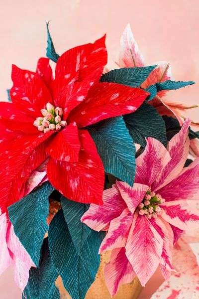 DIY Christmas Paper Poinsettia Flowers Craft