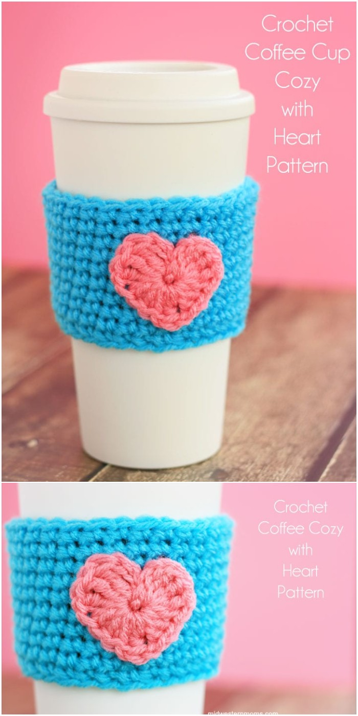 Coffee Cup Cozy Pattern with Heart