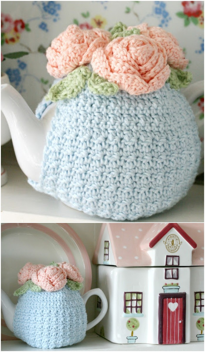 Crochet Rose Tea Cozy: