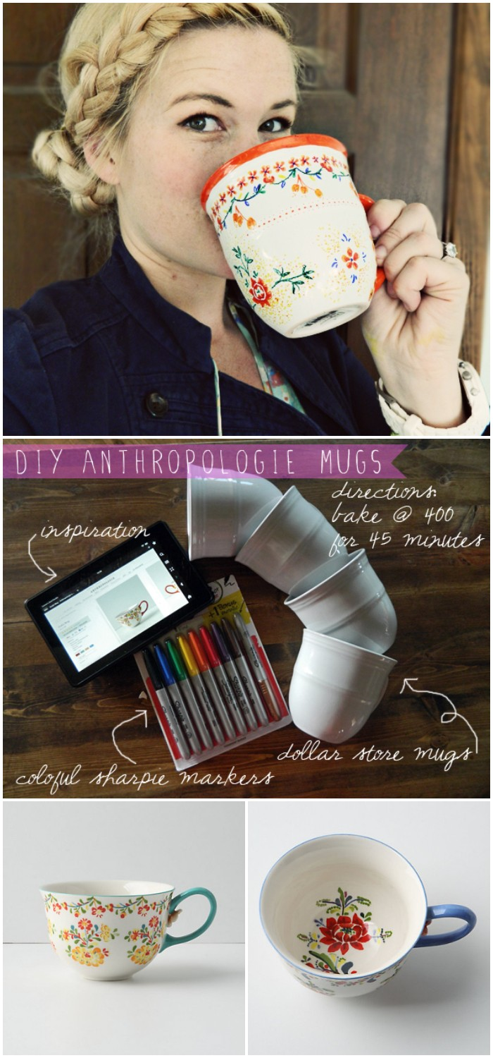 DIY Anthropologie Coffee Mugs