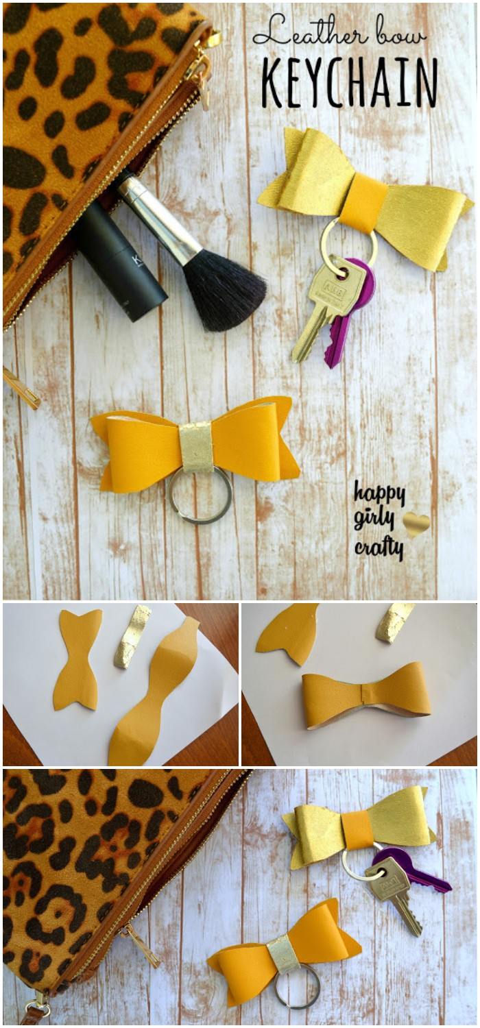 DIY Faux Leather Bow Keychain