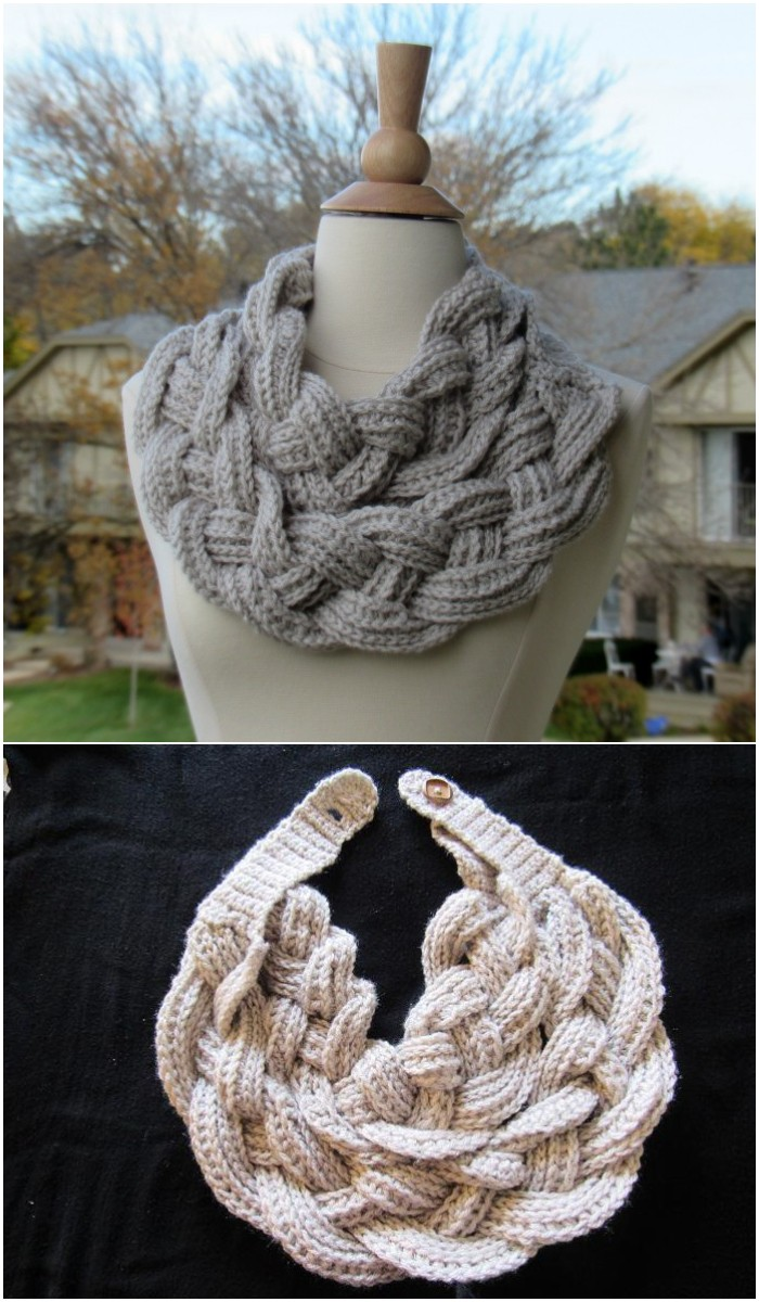 Double Layered Braided Crochet Cowl