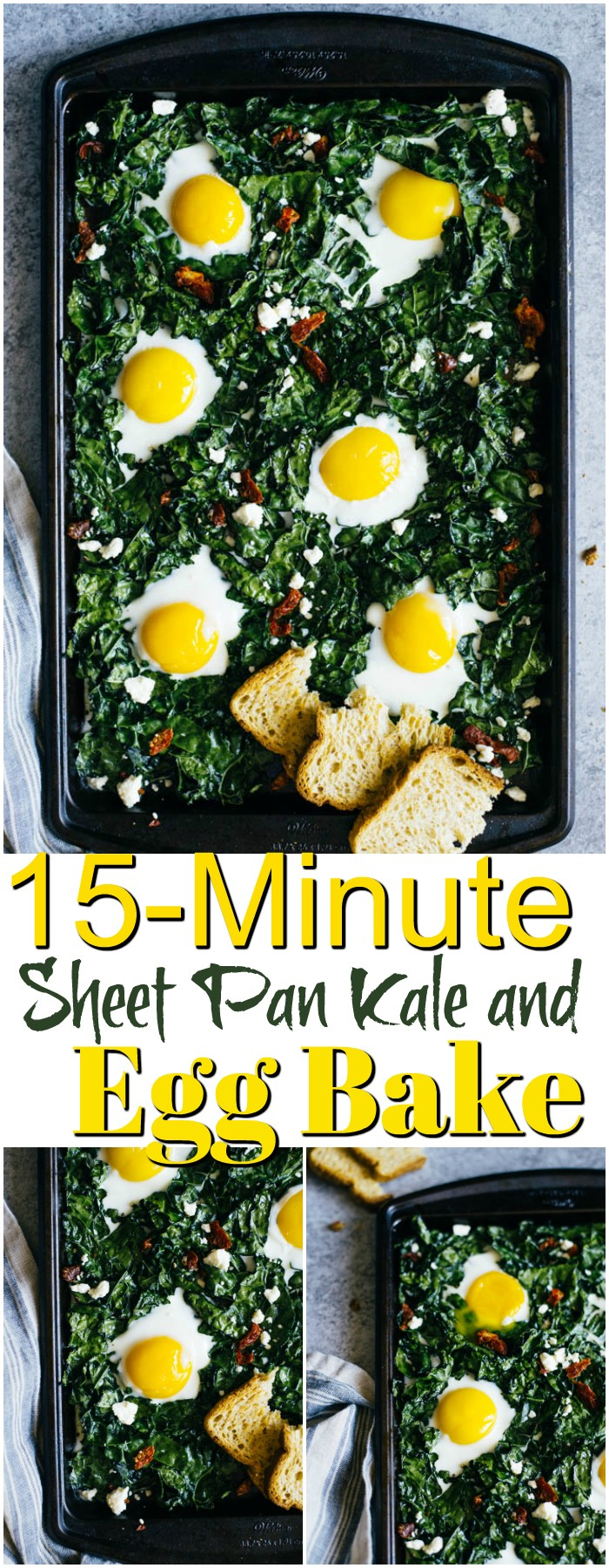 15-Minute Sheet Pan Kale and Egg Bake