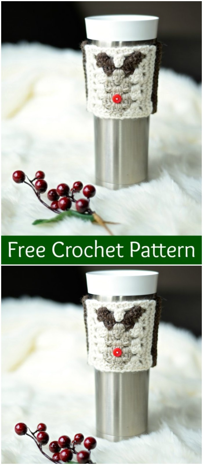 Reindeer Coffee Cozy Sleeve