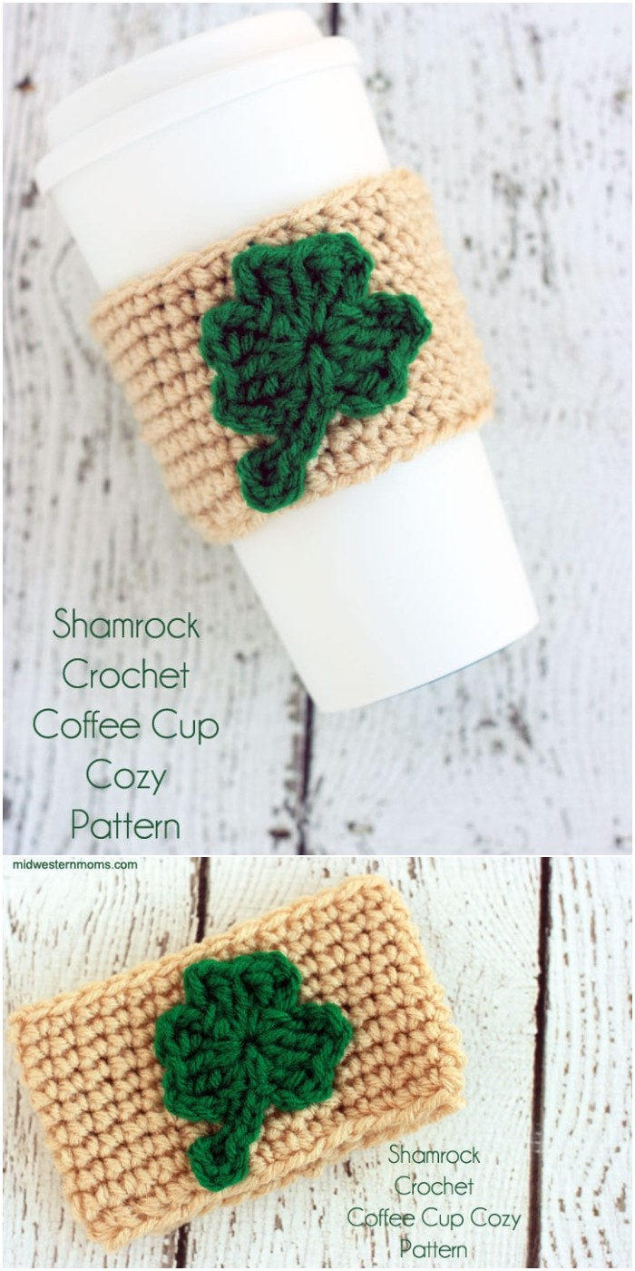 Shamrock Crochet Coffee Cup Cozy