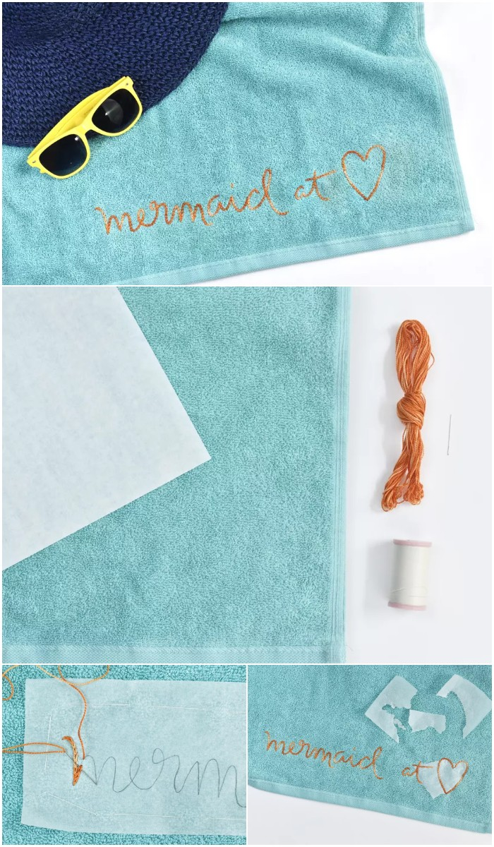Stitch a Fun Summer Phrase on Your Towel