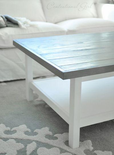 DIY Weathered Gray Coffee Table