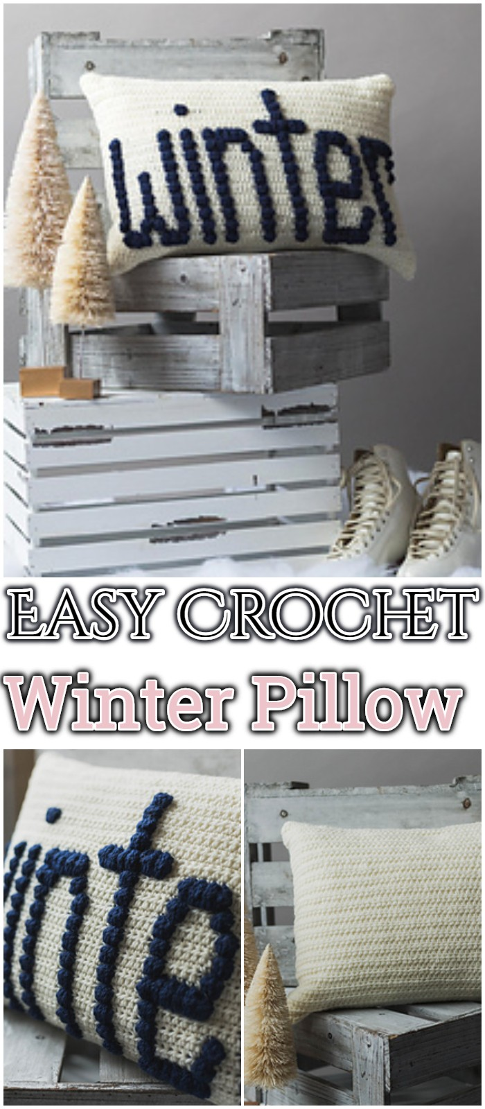 Easy Crochet Winter Pillow