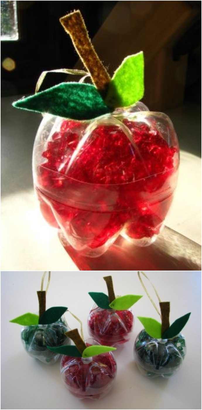 Apple Decorations From Recycled Plastic Bottles