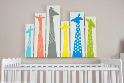 Attractive DIY Giraffe Nursery Art Idea