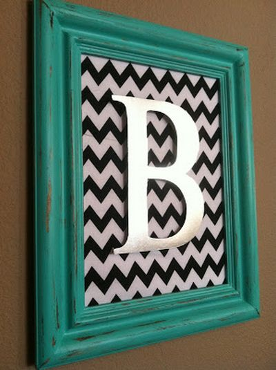 DIY Aqua Distressed Monogram Frame Craft