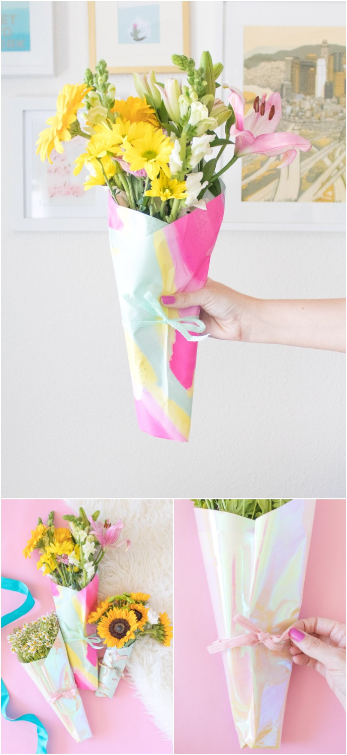 DIY Bouquet Of Flowers With Wrapping Paper