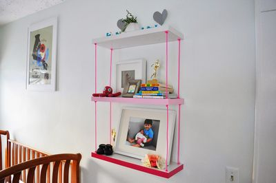 DIY Faux Hanging Pink Ombre Shelves Nurser Art Idea