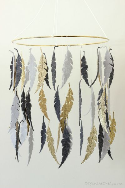 DIY Gray & Gold Feather Crib Mobile Idea