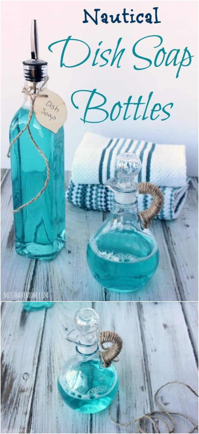 DIY Nautical Dish Soap Bottles
