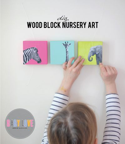 DIY Painted Wood Block Nursery Nursery Art