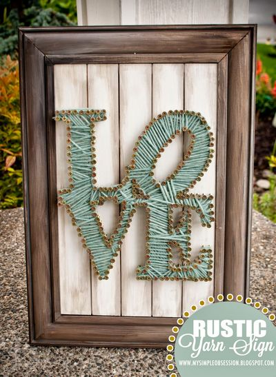 DIY  Rustic String Yarn Sign Idea