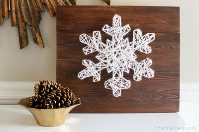 DIY Snowflake String Art Craft