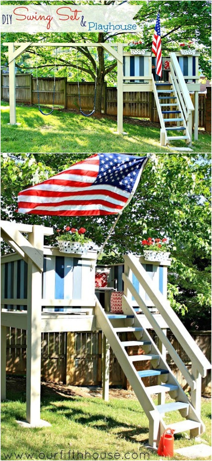 DIY Swing Set & Playhouse