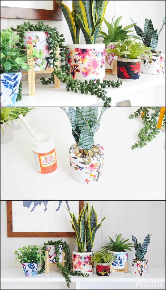 Easy Mod Podge Flower Pots With Fabric