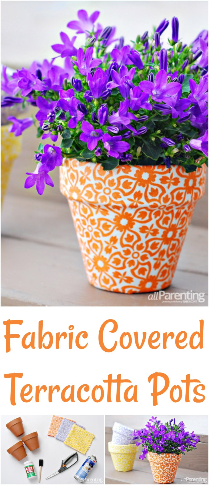 Fabric Covered Terracotta Pots