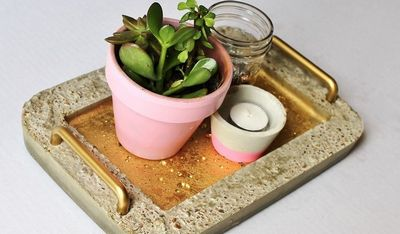 Gold DIY Concrete Serving Tray Craft