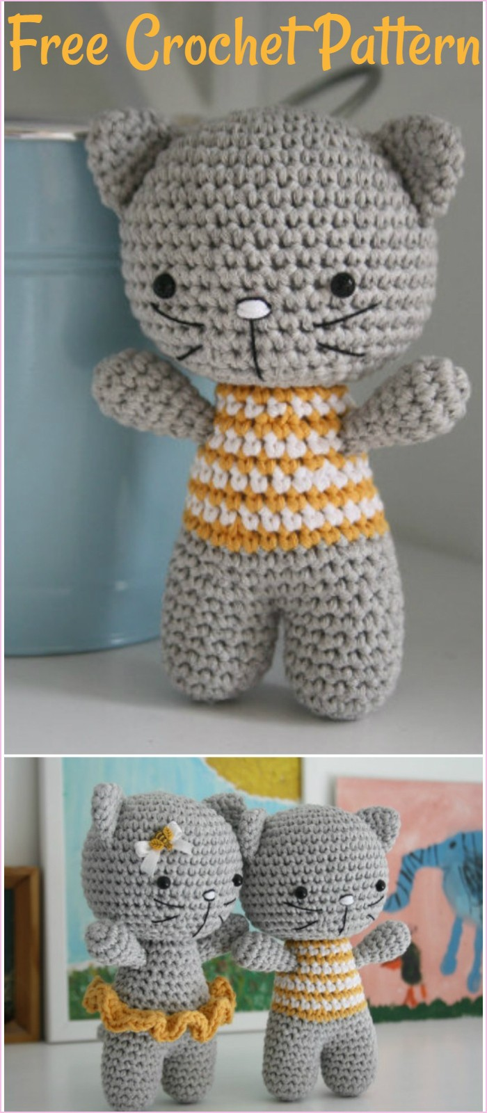Small cat with joined legs | Free amigurumi and crochet patterns ... | 1600x700