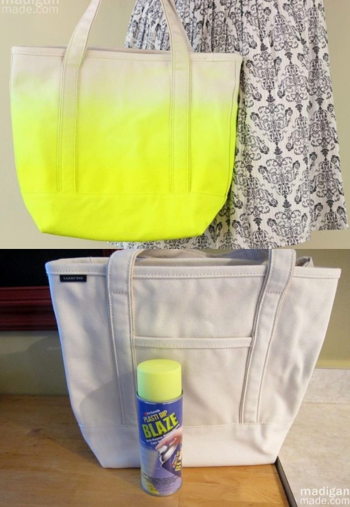 Neon Dipped Diy Tote Bag