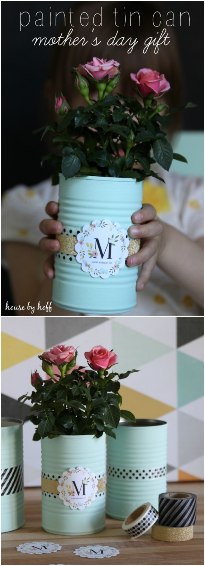 Painted Tin Cans A Mother's Day Gift Idea