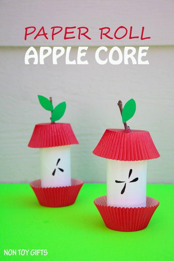 Paper Roll Apple Core Kid Craft