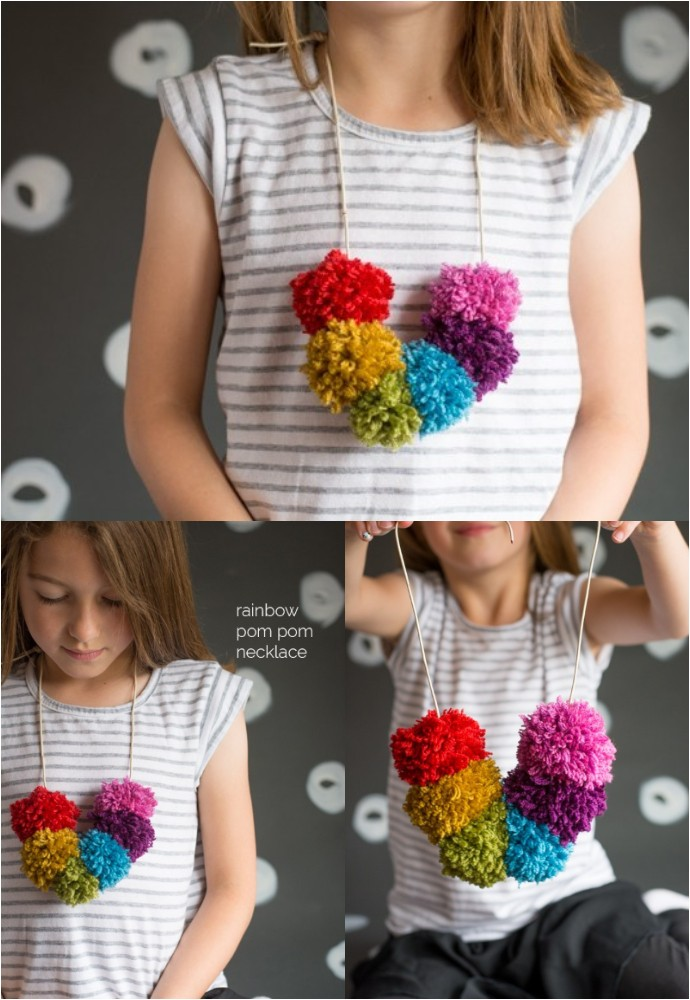 Rainbow Pom Pom Necklace Kids