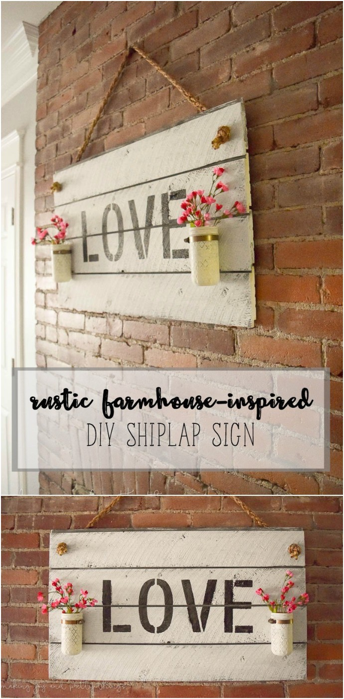 Rustic Farmhouse Inspired Diy Shiplap Sign
