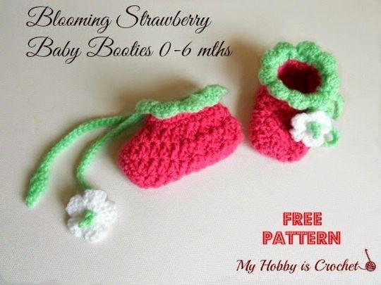 Blooming Strawberry Crochet Baby Booties