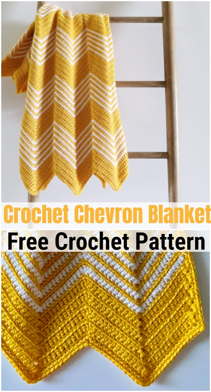 Crochet Gold Front Loop Chevron Blanket