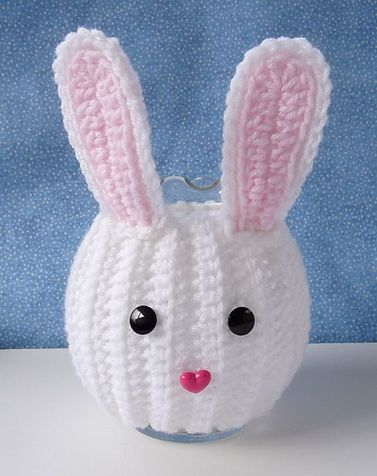 Crochet Free Bunny Jar Cozy Pattern