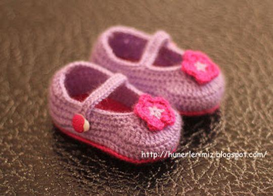 Crochet Hot Pink Baby Booties