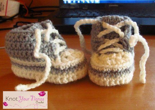 Crochet Newborn High Top Converse