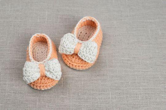 Crochet Orange Baby Bow Booties