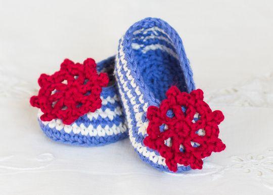 Crochet Sailor Baby Booties