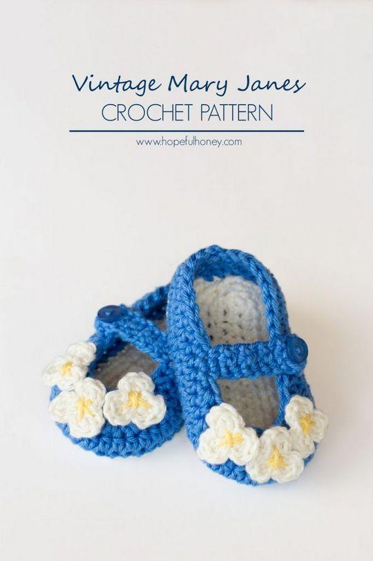 Crochet Vintage Mary Janes