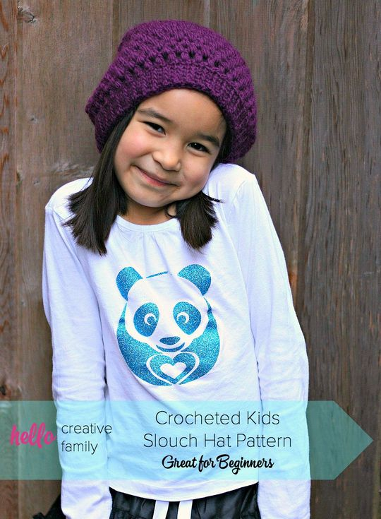 Crocheted Kids Slouch Hat Pattern