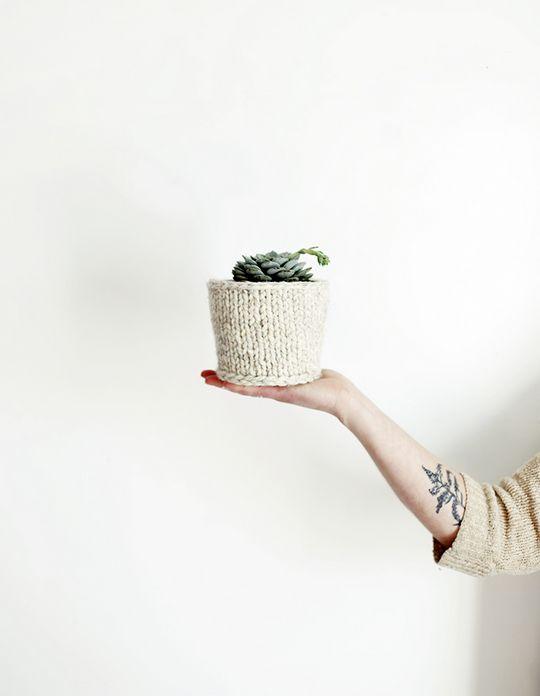 DIY Knit Planter Cover