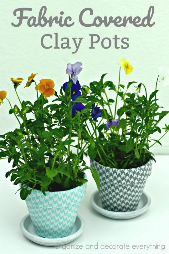 Fabric Covered Clay Pots