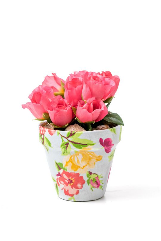 Fabulous Fabric Covered Flowerpots