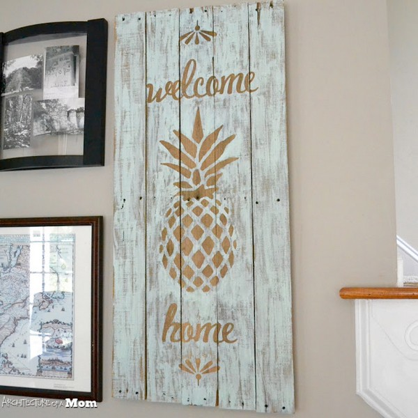 Pineapple Wooden Welcome Art Upcycled Pallet Art