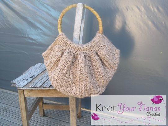Crochet Fat Bag with Bamboo Handles
