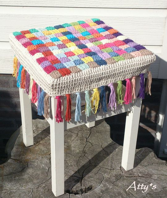 Crochet Stool Cover Free Pattern